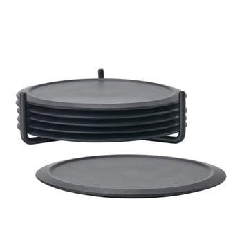 Set 6 suporturi cană cu stand Zone Singles, negru bonami.ro