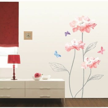 Autocolant Ambiance Light Pink Flowers And Butterflies bonami.ro