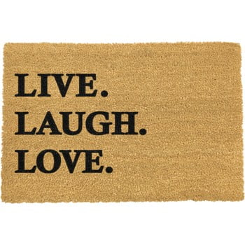 Covoraș intrare din fibre de cocos Artsy Doormats Live Laugh Love, 40 x 60 cm bonami.ro