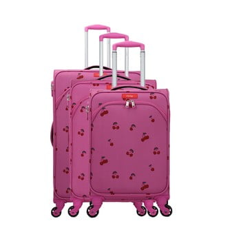 Set 3 trolere cu 4 roți Lollipops Cherry, roz imagine