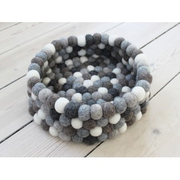 Coș depozitare cu bile din lână Wooldot Ball Basket, ⌀ 28 cm, alb - gri bonami.ro
