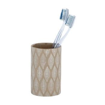 Suport ceramică pentru periuțe de dinți Wenko Tupian, bej bonami.ro