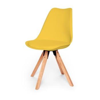 Set 2 scaune cu structură din lemn de fag loomi.design Eco, galben poza bonami.ro