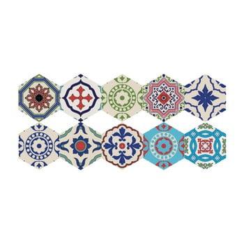 Set 10 autocolante de podea Ambiance Hexagons Hannah, 40 x 90 cm poza bonami.ro