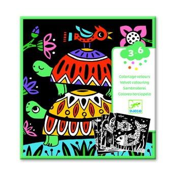 Set 5 imagini de colorat cu suprafață de catifea Djeco poza bonami.ro