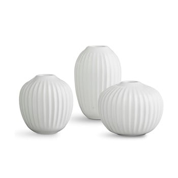 Set 3 vaze din gresie Kähler Design Hammershoi Miniature, alb poza bonami.ro
