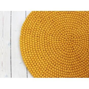 Covor cu bile din lână Wooldot Ball Rugs, ⌀ 90 cm, galben muștar imagine