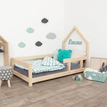 Pat tip căsuță din lemn pentru copii, cu protecție laterală pe partea dreaptă Benlemi Poppi, 70 x 160 cm