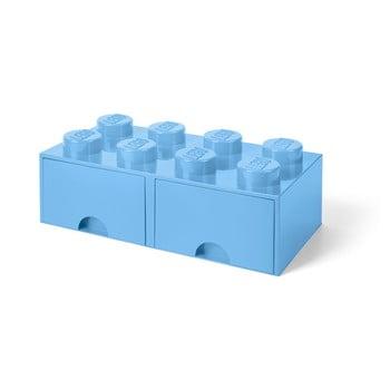 Cutie de depozitare cu 2 sertare LEGO®, albastru deschis poza bonami.ro