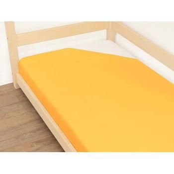 Cearșaf din bumbac Benlemi Jersey,90x180cm, portocaliu bonami.ro