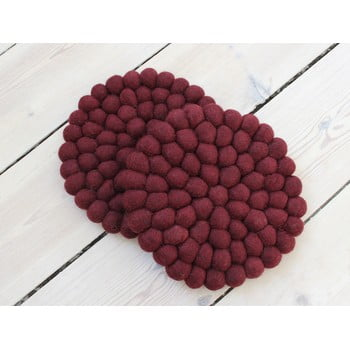 Suport pahar cu bile din lână Wooldot Ball Coaster, ⌀ 20 cm, vișiniu închis bonami.ro