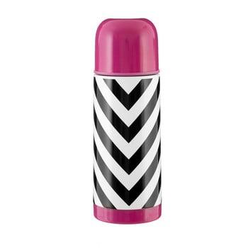 Sticlă termos Premier Housewares Vacuum, 350 ml, alb-negru-roz poza bonami.ro