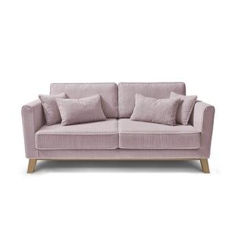 Canapea din catifea reiată Bobochic Paris DOBLO, roz deschis imagine