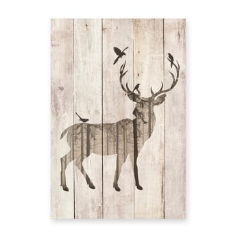 Tablou decorativ din lemn de pin Really Nice Things Watercolor Deer, 40 x 60 cm bonami.ro