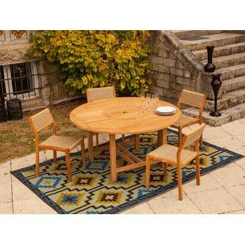 Set masă rotundă și 4 scaune stivuibile pentru grădină din lemn de tec Ezeis imagine