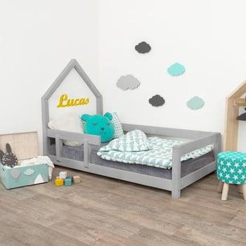 Pat gri tip căsuță pentru copii cu protecție laterală pe stânga Benlemi Poppi, 80 x 180 cm bonami.ro