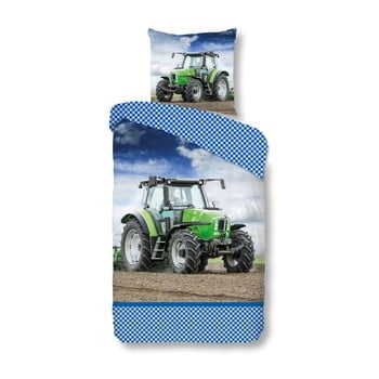 Lenjerie de pat din bumbac pentru copii Good Morning Green, 140 x 200 cm poza bonami.ro