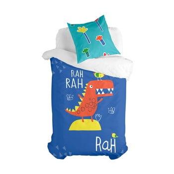 Lenjerie de pat din bumbac pentru copii Moshi Moshi Funnysaurus, 140 x 200 cm poza bonami.ro