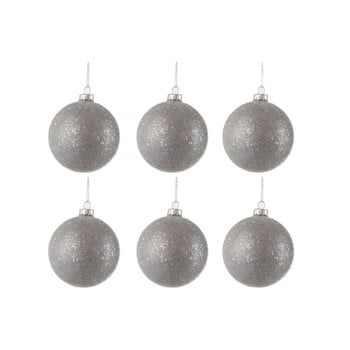 Set 6 globuri din sticlă pentru Crăciun J-Line Bauble, ø 8 cm, argintiu bonami.ro