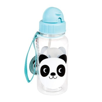Sticlă cu pai Rex London Miko The Panda, 500 ml, albastru poza bonami.ro