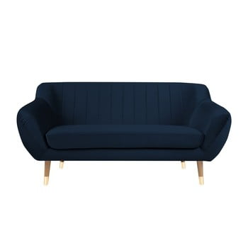 Canapea cu tapițerie din catifea Mazzini Sofas Benito, albastru închis, 158 cm imagine