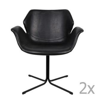 Set 2 scaune cu cotiere Zuiver Nikki, negru bonami.ro