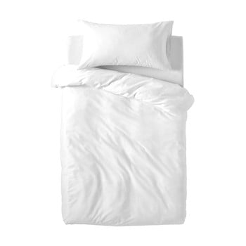 Lenjerie de pat din bumbac pentru copii Happy Friday Basic, 100x120cm, alb poza bonami.ro