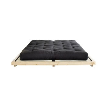 Pat dublu din lemn de pin cu saltea și tatami Karup Design Dock Comfort Mat Natural/Black, 160 x 200 cm imagine