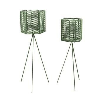 Set 2 suporturi metalice pentru ghiveci PT LIVING Hexagon, verde inchis