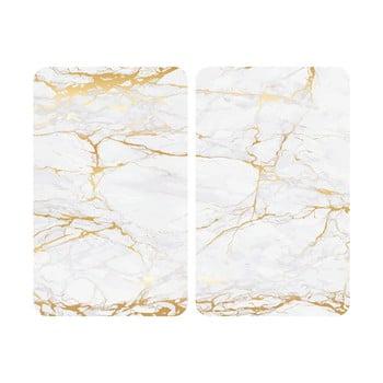 Set 2 protecții din sticlă pentru aragaz Wenko Marble, 52 x 30 cm , alb - auriu poza bonami.ro