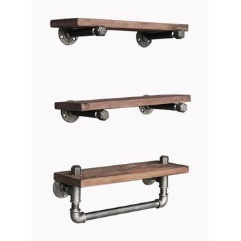 Set 3 rafturi din lemn Tube imagine
