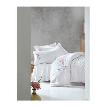 Lenjerie de pat din bumbac satinat și cearșaf Perla White, 200 x 220 cm, imagine