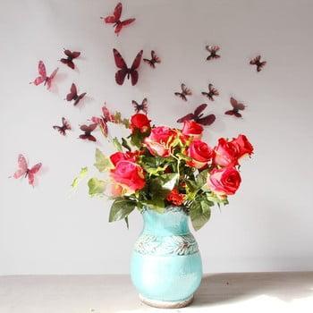 Set 18 autocolante 3D Ambiance Butterflies Chic, roșu bonami.ro