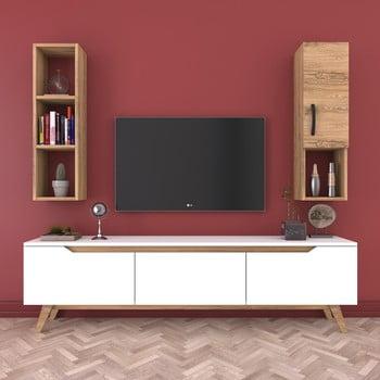 Set comodă TV și raft de perete cu 1 ușă Wren White, natural-alb imagine
