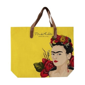 Geantă din pânză cu mâner din imitație de piele Madre Selva Frida Roses, 55 x 40 cm, galben bonami.ro