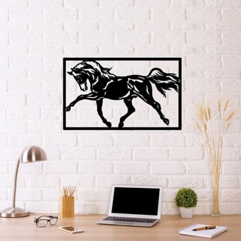 Decorațiune metalică de perete Horse Two, 70 x 50 cm, negru poza bonami.ro