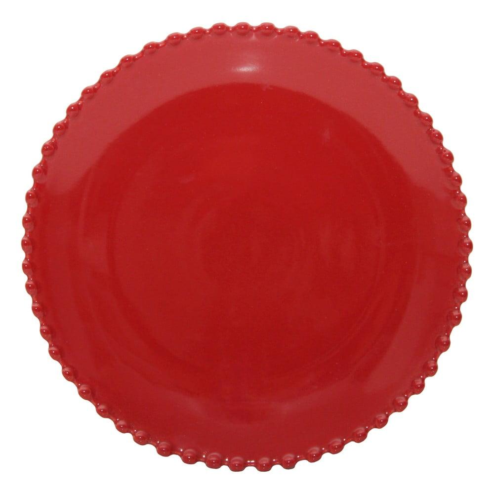 Farfurie din gresie pentru desert Costa Nova Pearlrubi, ø 22 cm, rosu rubin
