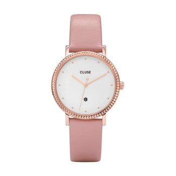 Ceas damă, curea din piele Cluse Le Couronnement, roz bonami.ro