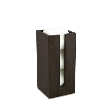 Suport depozitare din lemn de stejar pentru hârtie igienică, Wireworks Mezza Dark poza bonami.ro