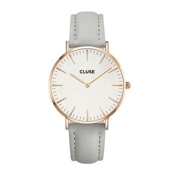 Ceas damă, curea din piele Cluse La Bohéme, gri-roz-auriu bonami.ro