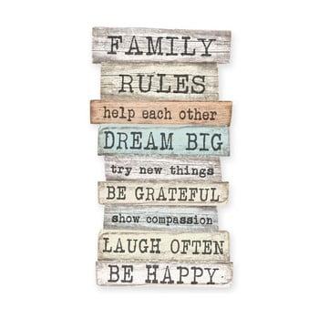 Semn de perete Little Nice Things Family Rules, 50 x 30 cm bonami.ro