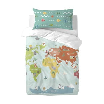 Lenjerie de pat din amestec de bumbac pentru copii Happynois World Map, 115x145cm poza bonami.ro