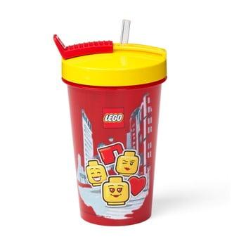 Pahar cu capac galben și pai LEGO® Iconic, 500 ml, roşu poza bonami.ro