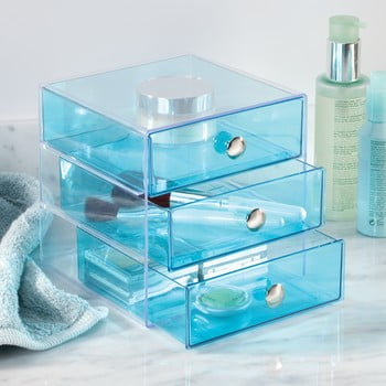 Organizator cu sertare iDesign, 16,5x16,5cm, albastru bonami.ro
