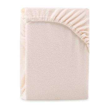 Cearșaf elastic pentru pat dublu AmeliaHome Ruby Siesta, 200-220 x 200 cm, bej deschis poza bonami.ro