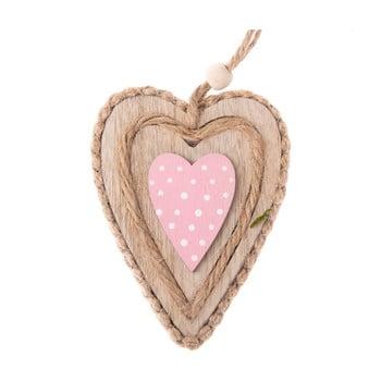Inimă decorativă din lemn, pentru agățat Dakls Pink Heart, roz poza bonami.ro