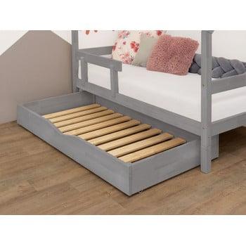 Sertar gri din lemn cu somieră pentru pat BenlemiBuddy, 80x140cm