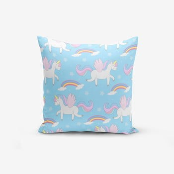 Față de pernă cu amestec din bumbac Minimalist Cushion Covers Blue Background Unicorn Rainbows, 45 x 45 cm bonami.ro