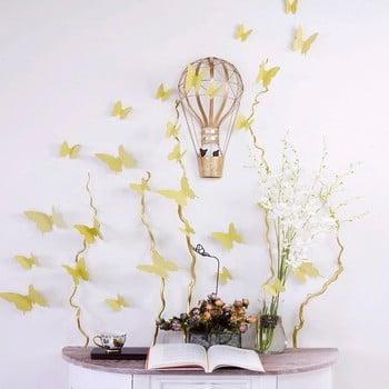 Set 12 autocolante cu efect 3D Ambiance Butterflies, auriu poza bonami.ro