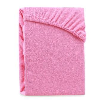 Cearșaf elastic pentru pat dublu AmeliaHome Ruby Siesta, 180-200 x 200 cm, roz poza bonami.ro